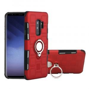 Противоударный двухкомпонентный силиконовый матовый непрозрачный чехол с поликарбонатными вставками экстрим защиты с встроенным кольцом-подставкой для Samsung Galaxy S9 Plus Красный