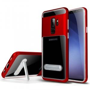 Двухкомпонентный силиконовый глянцевый транспарентный чехол с поликарбонатным бампером и встроенной ножкой-подставкой для Samsung Galaxy S9 Plus Красный