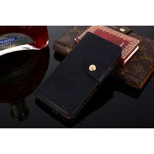 Винтажный чехол портмоне подставка на силиконовой основе с отсеком для карт на дизайнерской магнитной защелке для Samsung Galaxy S9 Plus Черный