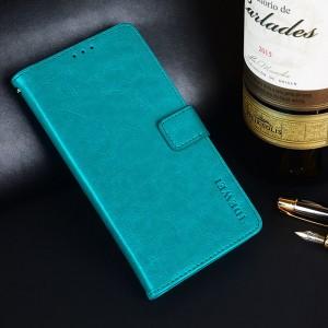 Глянцевый водоотталкивающий чехол портмоне подставка на силиконовой основе с отсеком для карт на магнитной защелке для ASUS ZenFone Max Pro M2 Голубой