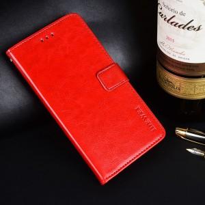 Глянцевый водоотталкивающий чехол портмоне подставка на силиконовой основе с отсеком для карт на магнитной защелке для ASUS ZenFone Max Pro M2 Красный