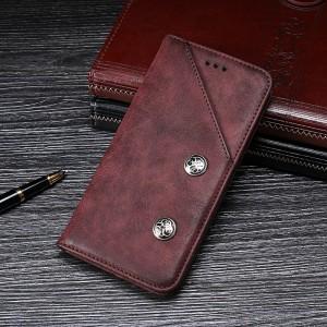 Винтажный чехол горизонтальная книжка подставка на силиконовой основе с отсеком для карт для ASUS ZenFone Max Pro M2 Бордовый