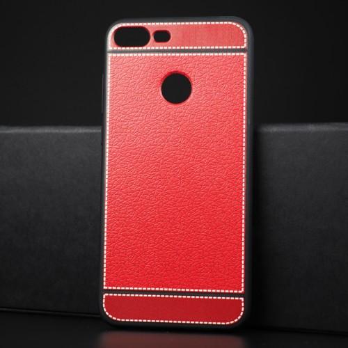 Силиконовый матовый непрозрачный чехол с текстурным покрытием Кожа для Huawei Honor 9 Lite Красный