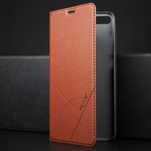 Чехол горизонтальная книжка подставка текстура Линии на пластиковой основе с отсеком для карт для Huawei Honor 9 Lite Коричневый