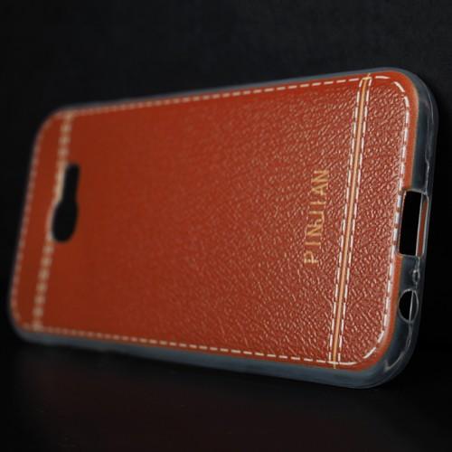 Силиконовый матовый полупрозрачный чехол с текстурным покрытием Кожа для Samsung Galaxy A5 (2017)