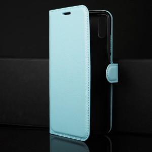 Чехол портмоне подставка на силиконовой основе с отсеком для карт на магнитной защелке для Huawei Honor 8X Голубой