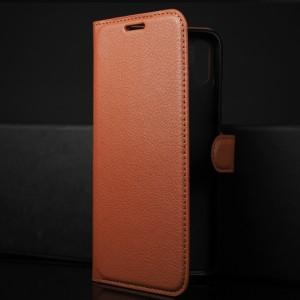 Чехол портмоне подставка на силиконовой основе с отсеком для карт на магнитной защелке для Huawei Honor 8X Коричневый