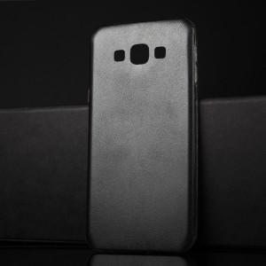Силиконовый матовый непрозрачный чехол текстура Кожа для Samsung Galaxy A8 Черный