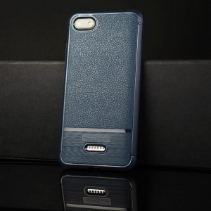 Силиконовый матовый непрозрачный чехол с текстурным покрытием Кожа для Xiaomi RedMi 6A Синий