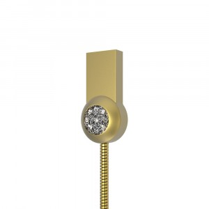 Интерфейсный кабель Lightning 1м в металлической оплетке с аппликацией стразами Бежевый