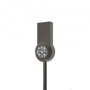 Интерфейсный кабель Lightning 1м в металлической оплетке с аппликацией стразами Черный