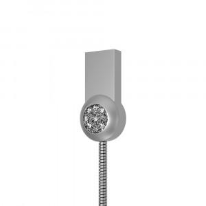 Интерфейсный кабель Lightning 1м в металлической оплетке с аппликацией стразами Серый