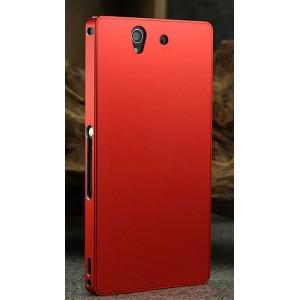 Цельнометаллический противоударный чехол из авиационного алюминия с мягкой внутренней защитной прослойкой для гаджета с прямым доступом к разъемам для Sony Xperia Z Красный