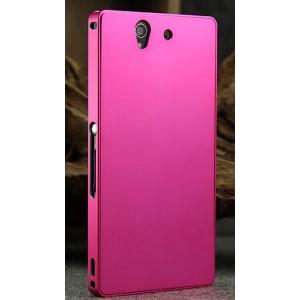 Цельнометаллический противоударный чехол из авиационного алюминия с мягкой внутренней защитной прослойкой для гаджета с прямым доступом к разъемам для Sony Xperia Z Розовый