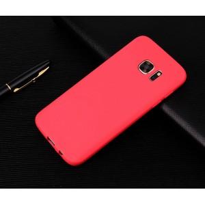 Силиконовый матовый непрозрачный чехол для Samsung Galaxy S7 Красный