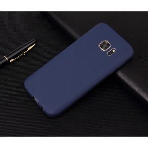Силиконовый матовый непрозрачный чехол для Samsung Galaxy S7 Синий
