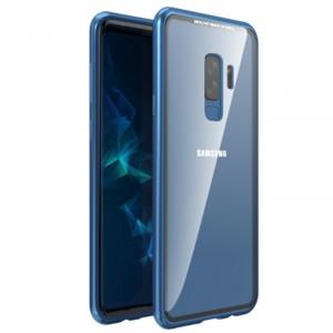 Двухкомпонентный металлический матовый полупрозрачный чехол с акриловой полноразмерной транспарентной накладкой на магнитных креплениях для Samsung Galaxy S9 Plus Синий