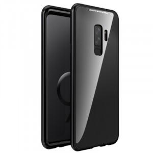 Двухкомпонентный металлический матовый полупрозрачный чехол с акриловой полноразмерной транспарентной накладкой на магнитных креплениях для Samsung Galaxy S9 Plus Черный