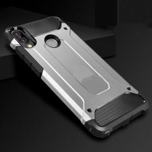 Противоударный двухкомпонентный силиконовый матовый непрозрачный чехол с поликарбонатными вставками экстрим защиты для Huawei Honor 8X Серый