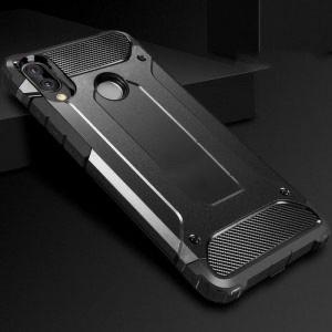 Противоударный двухкомпонентный силиконовый матовый непрозрачный чехол с поликарбонатными вставками экстрим защиты для Huawei Honor 8X Черный