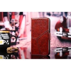 Винтажный чехол портмоне подставка на силиконовой основе с отсеком для карт и текстурным покрытием Линии на магнитной защелке для Xiaomi RedMi Note 4 Бордовый