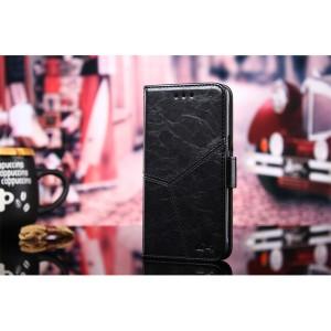 Винтажный чехол портмоне подставка на силиконовой основе с отсеком для карт и текстурным покрытием Линии на магнитной защелке для Xiaomi RedMi Note 4 Черный