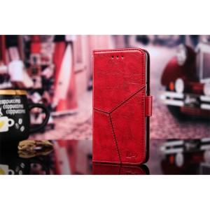 Винтажный чехол портмоне подставка на силиконовой основе с отсеком для карт и текстурным покрытием Линии на магнитной защелке для Xiaomi RedMi Note 4 Красный