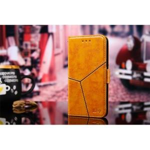 Винтажный чехол портмоне подставка на силиконовой основе с отсеком для карт и текстурным покрытием Линии на магнитной защелке для Xiaomi RedMi Note 4 Бежевый