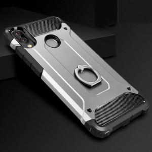 Противоударный двухкомпонентный силиконовый матовый непрозрачный чехол с поликарбонатными вставками экстрим защиты с встроенным кольцом-подставкой для Huawei Honor 8X Белый