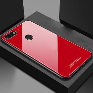 Силиконовый матовый непрозрачный чехол с нескользящими гранями и стеклянной накладкой для Huawei Honor 7C/7A Pro/Y6 Prime (2018) Красный