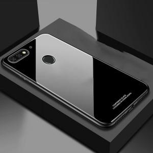 Силиконовый матовый непрозрачный чехол с нескользящими гранями и стеклянной накладкой для Huawei Honor 7C/7A Pro/Y6 Prime (2018) Черный