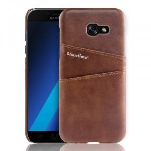 Чехол накладка текстурная отделка Кожа с отсеком для карт для Samsung Galaxy A5 (2017) Коричневый