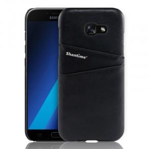 Чехол накладка текстурная отделка Кожа с отсеком для карт для Samsung Galaxy A5 (2017) Черный