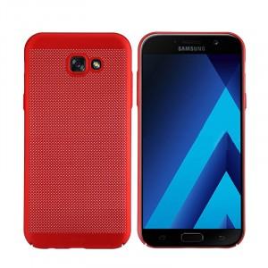 Пластиковый непрозрачный матовый чехол с улучшенной защитой элементов корпуса с текстурой Точки для Samsung Galaxy A5 (2017) Красный