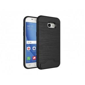Противоударный двухкомпонентный силиконовый матовый непрозрачный чехол с поликарбонатными вставками экстрим защиты с встроенной ножкой-подставкой, отсеком для карт и текстурным покрытием Металлик для Samsung Galaxy A5 (2017) Черный