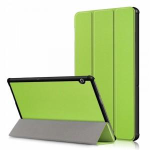 Сегментарный чехол книжка подставка на непрозрачной поликарбонатной основе для Huawei MediaPad T5 Зеленый