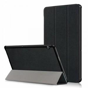 Сегментарный чехол книжка подставка на непрозрачной поликарбонатной основе для Huawei MediaPad T5 Черный