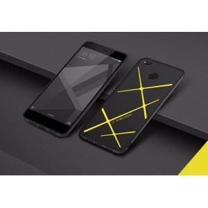 Силиконовый матовый непрозрачный чехол с текстурным покрытием Линии для Xiaomi RedMi 4X Желтый