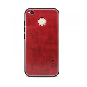 Силиконовый матовый непрозрачный чехол с текстурным покрытием Кожа для Xiaomi RedMi 4X Красный