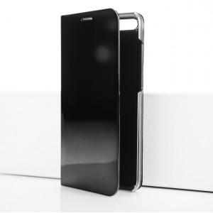 Двухмодульный пластиковый непрозрачный матовый чехол подставка с полупрозрачной смарт крышкой с зеркальным покрытием для Huawei Honor 7A Pro/7C/Y6 Prime (2018) Черный