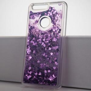 Силиконовый глянцевый полупрозрачный чехол внутренней аква-аппликацией для Huawei Honor 8 Фиолетовый