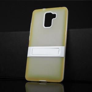 Двухкомпонентный силиконовый матовый непрозрачный чехол с поликарбонатным бампером и встроенной ножкой-подставкой для Huawei Honor 7 Желтый