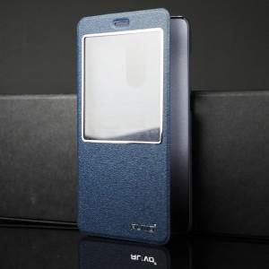Чехол горизонтальная книжка подставка на пластиковой основе с окном вызова для Xiaomi RedMi Note 4 Синий