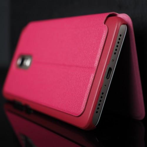 Чехол горизонтальная книжка подставка на пластиковой основе с окном вызова для Xiaomi RedMi Note 4 Розовый