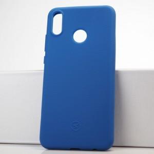 Силиконовый матовый непрозрачный чехол с нескользящим софт-тач покрытием для Huawei Honor 8X Синий