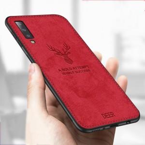Силиконовый матовый непрозрачный чехол с нескользящими гранями, декоративным тиснением и текстурным покрытием Джинса для Samsung Galaxy A7 (2018)