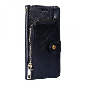 Глянцевый водоотталкивающий чехол портмоне подставка на силиконовой основе с внутренними отсеками для карт и внешним карманом на молнии на кнопке для ASUS ZenFone Max Pro M1 Черный