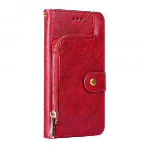 Глянцевый водоотталкивающий чехол портмоне подставка на силиконовой основе с внутренними отсеками для карт и внешним карманом на молнии на кнопке для ASUS ZenFone Max Pro M1 Красный