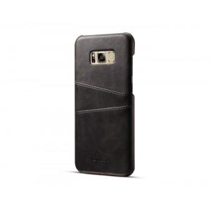 Чехол накладка текстурная отделка Кожа с отсеком для карт для Samsung Galaxy S8 Черный