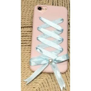 Силиконовый матовый непрозрачный чехол с шнуровкой для Iphone 6/6s Розовый